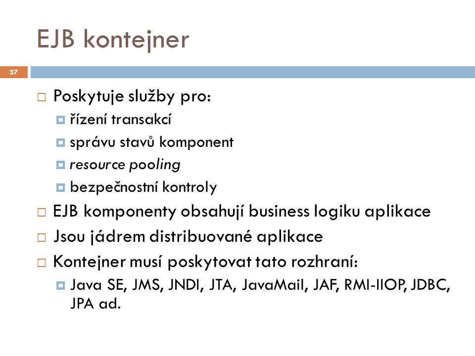 EJB kontejner  Poskytuje služby pro:  řízení transakcí  správu stavů komponent  resource pooling  bezpečnostní kontroly  EJB komponenty obsahují