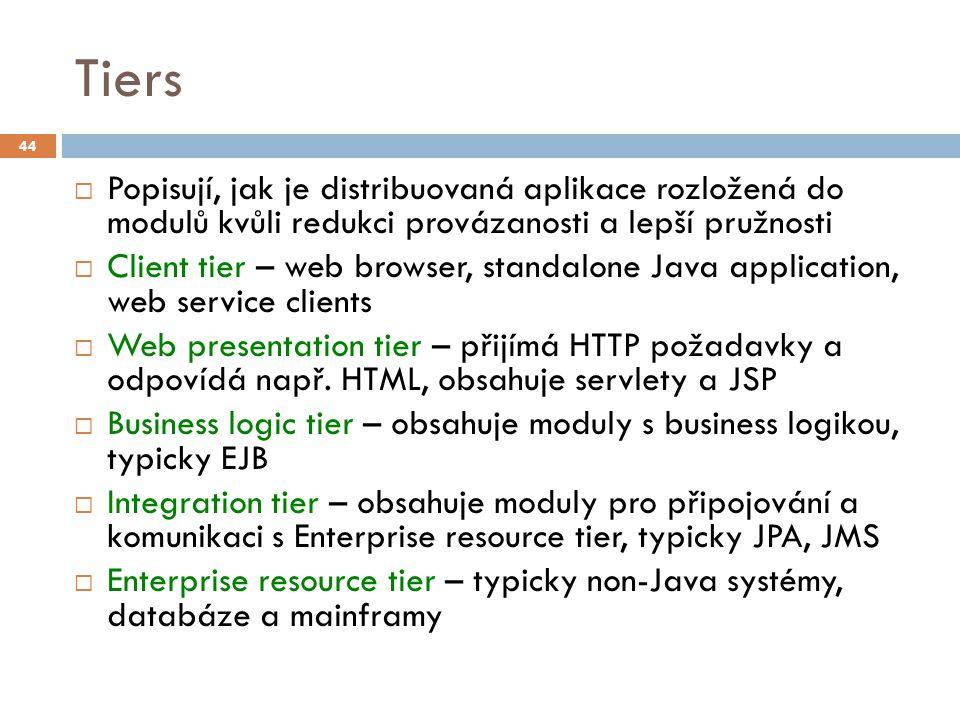 Tiers  Popisují, jak je distribuovaná aplikace rozložená do modulů kvůli redukci provázanosti a lepší pružnosti  Client tier – web browser, standalo