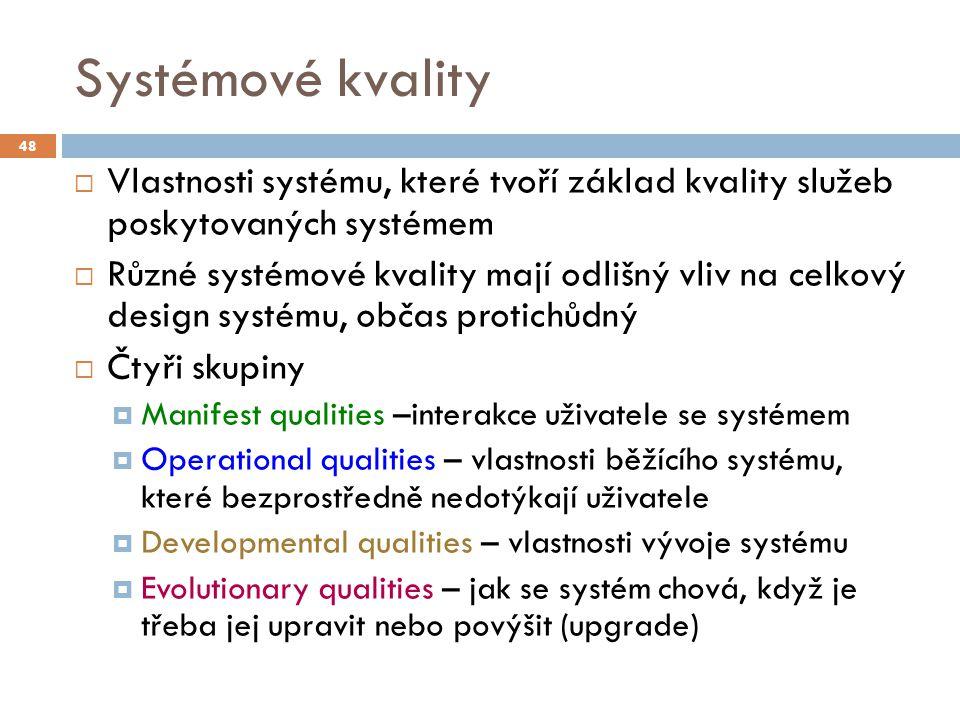 Systémové kvality  Vlastnosti systému, které tvoří základ kvality služeb poskytovaných systémem  Různé systémové kvality mají odlišný vliv na celkov
