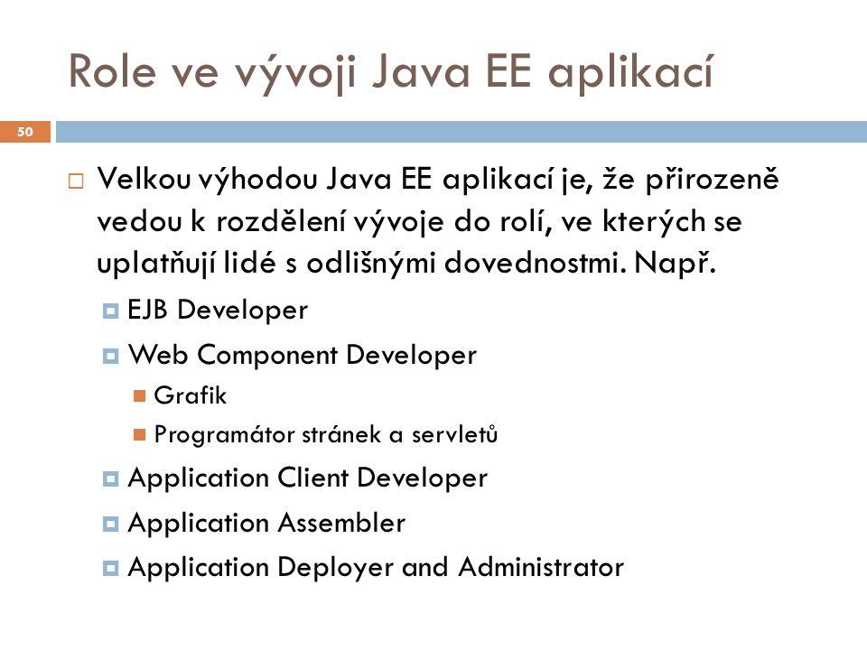 Role ve vývoji Java EE aplikací  Velkou výhodou Java EE aplikací je, že přirozeně vedou k rozdělení vývoje do rolí, ve kterých se uplatňují lidé s od