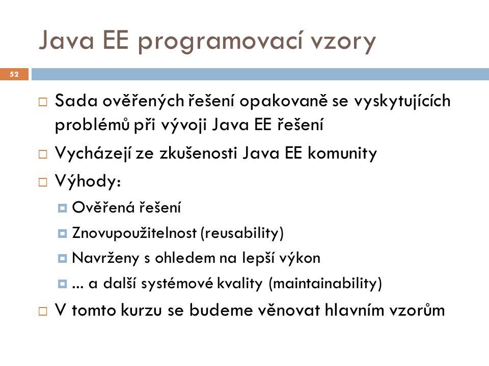 Java EE programovací vzory  Sada ověřených řešení opakovaně se vyskytujících problémů při vývoji Java EE řešení  Vycházejí ze zkušenosti Java EE kom