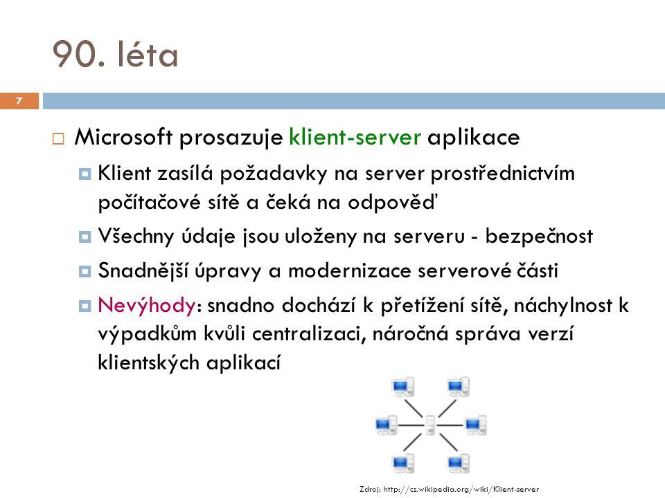 90. léta  Microsoft prosazuje klient-server aplikace  Klient zasílá požadavky na server prostřednictvím počítačové sítě a čeká na odpověď  Všechny