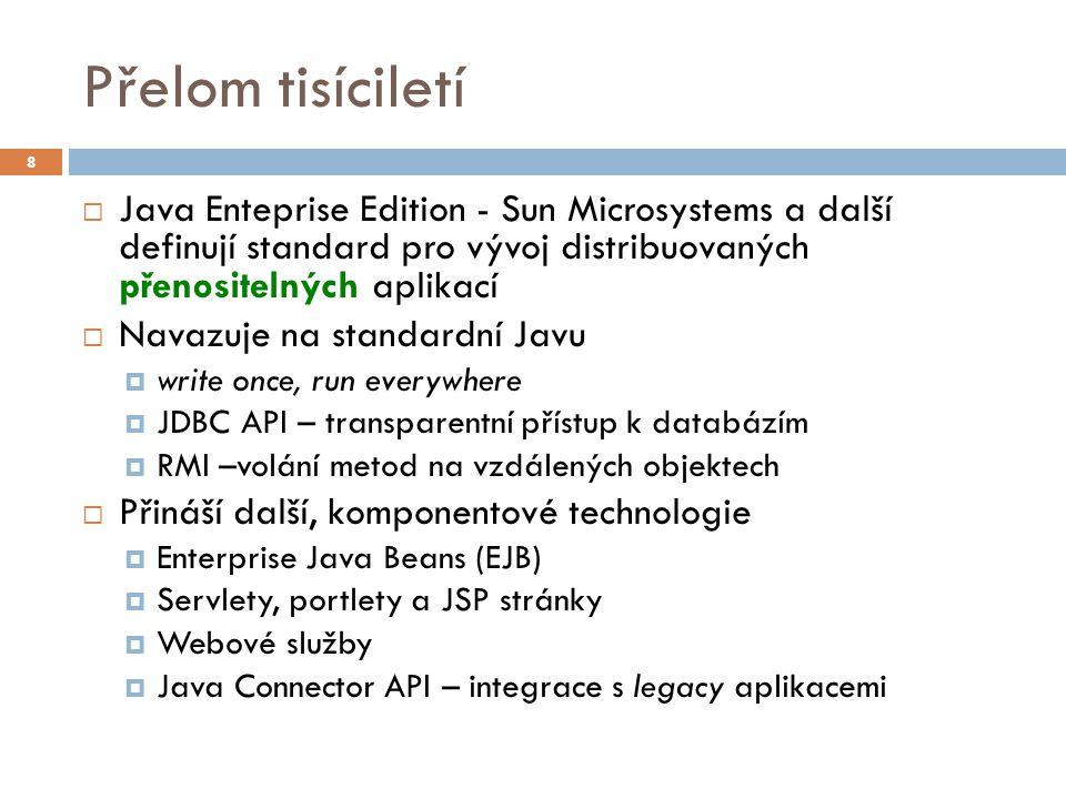 Přelom tisíciletí  Java Enteprise Edition - Sun Microsystems a další definují standard pro vývoj distribuovaných přenositelných aplikací  Navazuje n
