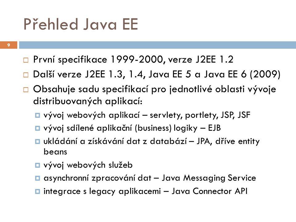 Přehled Java EE  První specifikace 1999-2000, verze J2EE 1.2  Další verze J2EE 1.3, 1.4, Java EE 5 a Java EE 6 (2009)  Obsahuje sadu specifikací pr