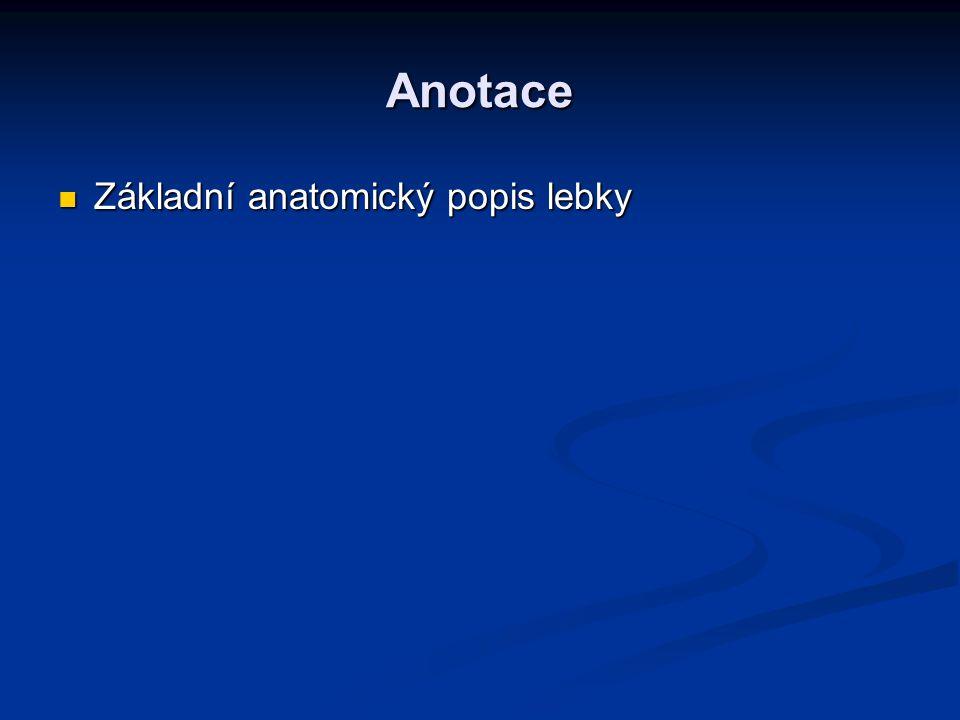 Anotace Základní anatomický popis lebky Základní anatomický popis lebky