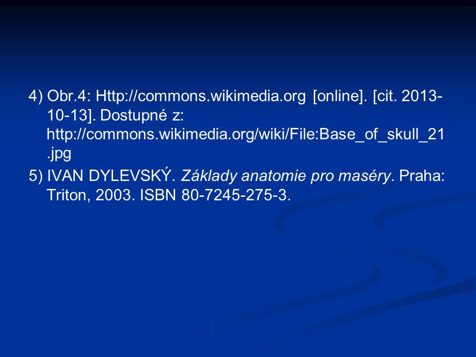 4) Obr.4: Http://commons.wikimedia.org [online]. [cit. 2013- 10-13]. Dostupné z: http://commons.wikimedia.org/wiki/File:Base_of_skull_21.jpg 5) IVAN D