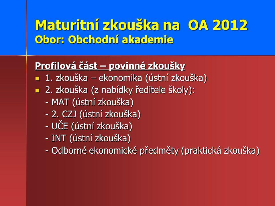 Maturitní zkouška na OA 2012 Obor: Obchodní akademie Profilová část – povinné zkoušky 1. zkouška – ekonomika (ústní zkouška) 1. zkouška – ekonomika (ú