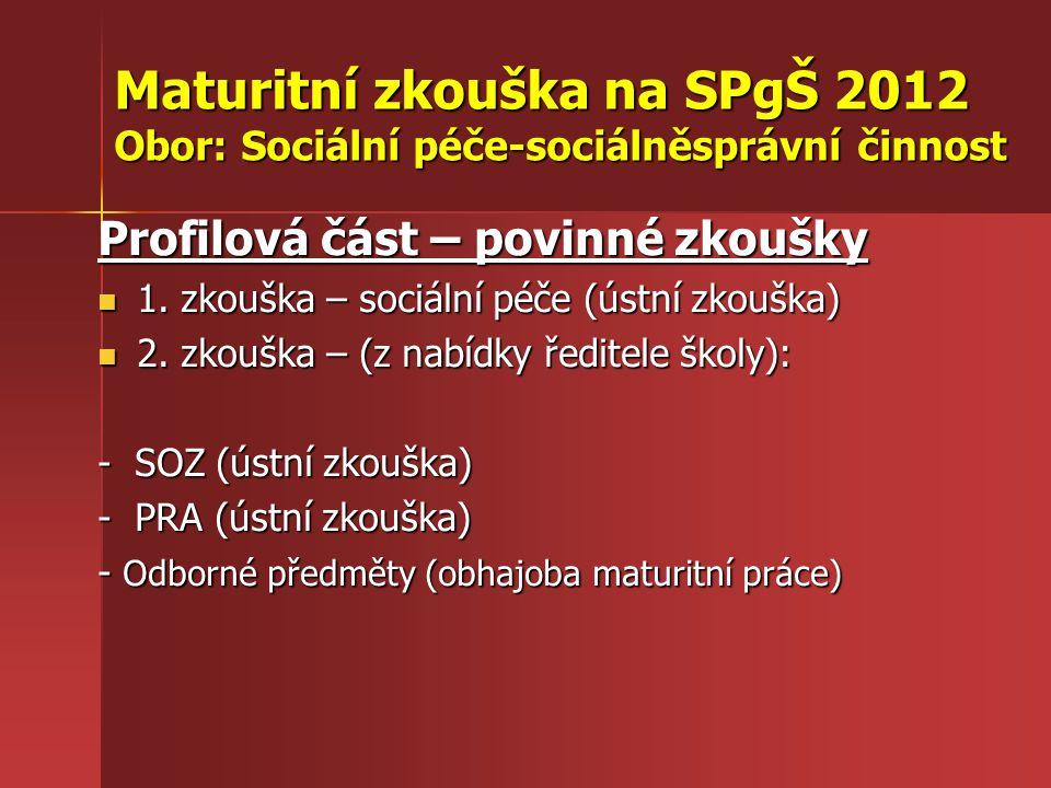Maturitní zkouška na SPgŠ 2012 Obor: Sociální péče-sociálněsprávní činnost Profilová část – povinné zkoušky 1. zkouška – sociální péče (ústní zkouška)