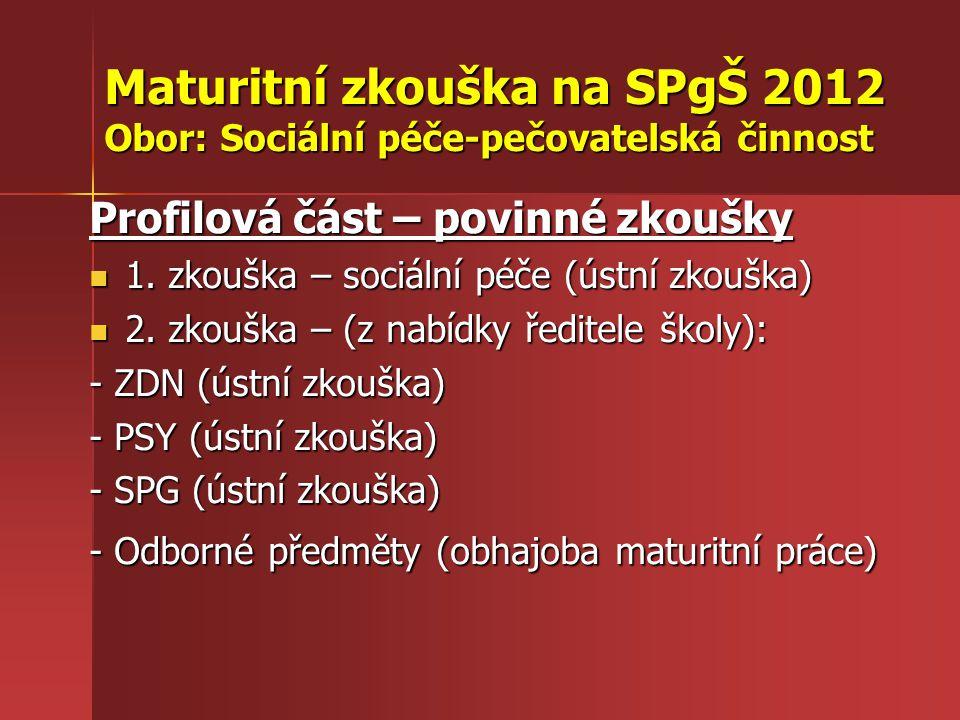 Maturitní zkouška na SPgŠ 2012 Obor: Sociální péče-pečovatelská činnost Profilová část – povinné zkoušky 1. zkouška – sociální péče (ústní zkouška) 1.
