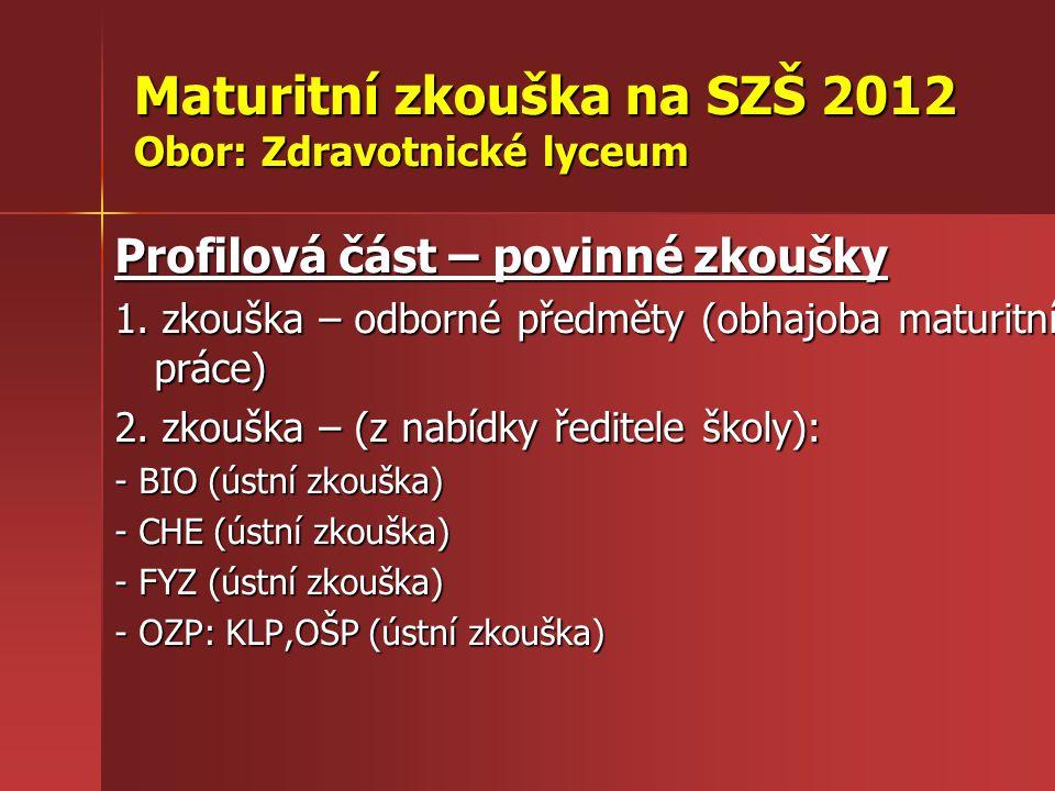 Maturitní zkouška na SZŠ 2012 Obor: Zdravotnické lyceum Profilová část – povinné zkoušky 1.