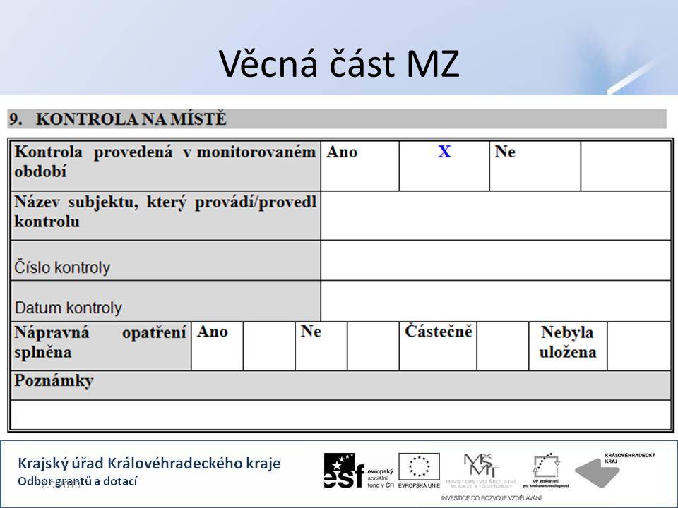 Věcná část MZ 2.9.2010