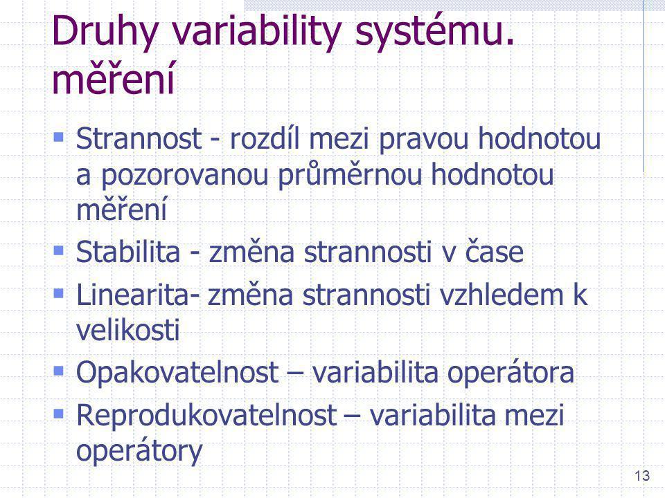 13 Druhy variability systému. měření  Strannost - rozdíl mezi pravou hodnotou a pozorovanou průměrnou hodnotou měření  Stabilita - změna strannosti