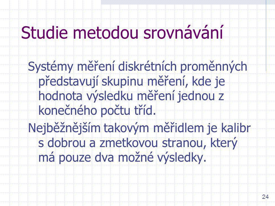 24 Studie metodou srovnávání Systémy měření diskrétních proměnných představují skupinu měření, kde je hodnota výsledku měření jednou z konečného počtu