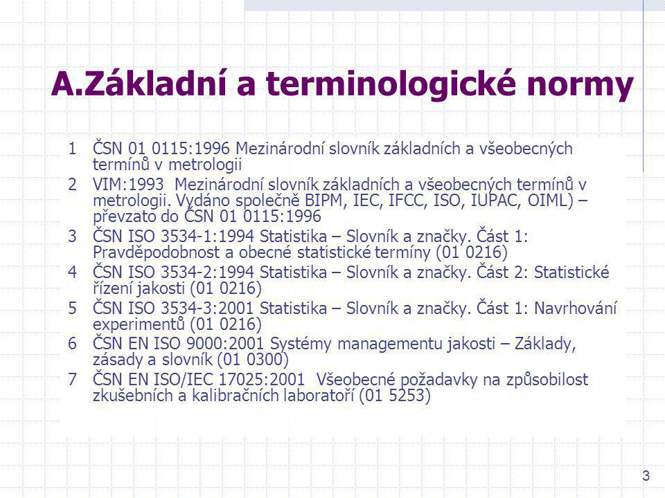 3 A.Základní a terminologické normy 1ČSN 01 0115:1996 Mezinárodní slovník základních a všeobecných termínů v metrologii 2VIM:1993 Mezinárodní slovník