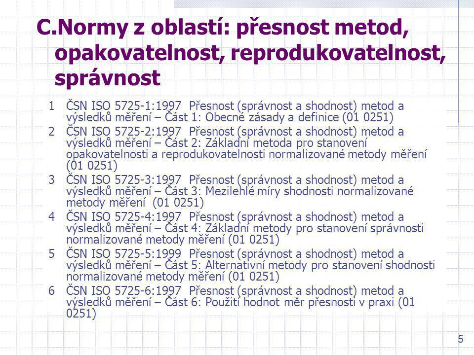 6 D.Normy z oblastí: detekční schopnost a kalibrace 1ČSN ISO 11095:1997 Lineární kalibrace s použitím referenčních materiálů (01 0237) 2ČSN ISO 11843-1:1998 Detekční schopnost – Část 1: Termíny a definice (01 0240) 3ČSN ISO 11843-2:2001 Detekční schopnost – Část 2: Metodologie v případě lineární kalibrace (01 0240) 4ČSN ISO 11843-3:2004 Detekční schopnost – Část 3: Metodologie pro stanovení kritické hodnoty odezvy bez použití dat z kalibrace (01 0240) 5ČSN ISO 11843-4:2004 Detekční schopnost – Část 4: Metodologie pro porovnání minimální detekovatelné hodnoty s danou hodnotou (01 0240)