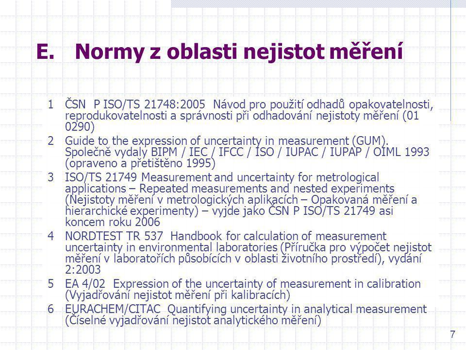 8 F.Normy z oblastí: regulační metody, kontrola stability výsledků zkoušek 1ČSN 01 0266:1987 Zvláštní typy statistické regulace – Metoda kumulovaných součtů 2ČSN ISO 5725-6:1997 Přesnost (správnost a shodnost) metod a výsledků měření – Část 6: Použití měr přesnosti v praxi (01 0251) 3ISO/TR 7871:1997 Diagramy pro metodu kumulovaných součtů – Návod k řízení jakosti a analýze pomocí metody CUSUM (technická zpráva ISO není přeložena do češtiny) 4ČSN ISO 7873:1995 Regulační diagramy pro aritmetický průměr s výstražnými mezemi (01 0273) 5ČSN ISO 7966:1995 Přejímací regulační diagramy (01 0274) 6ČSN ISO 8258:1994 Shewhartovy regulační diagramy (01 0271)