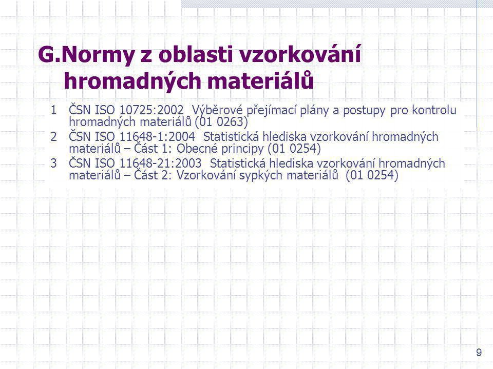 9 G.Normy z oblasti vzorkování hromadných materiálů 1ČSN ISO 10725:2002 Výběrové přejímací plány a postupy pro kontrolu hromadných materiálů (01 0263)