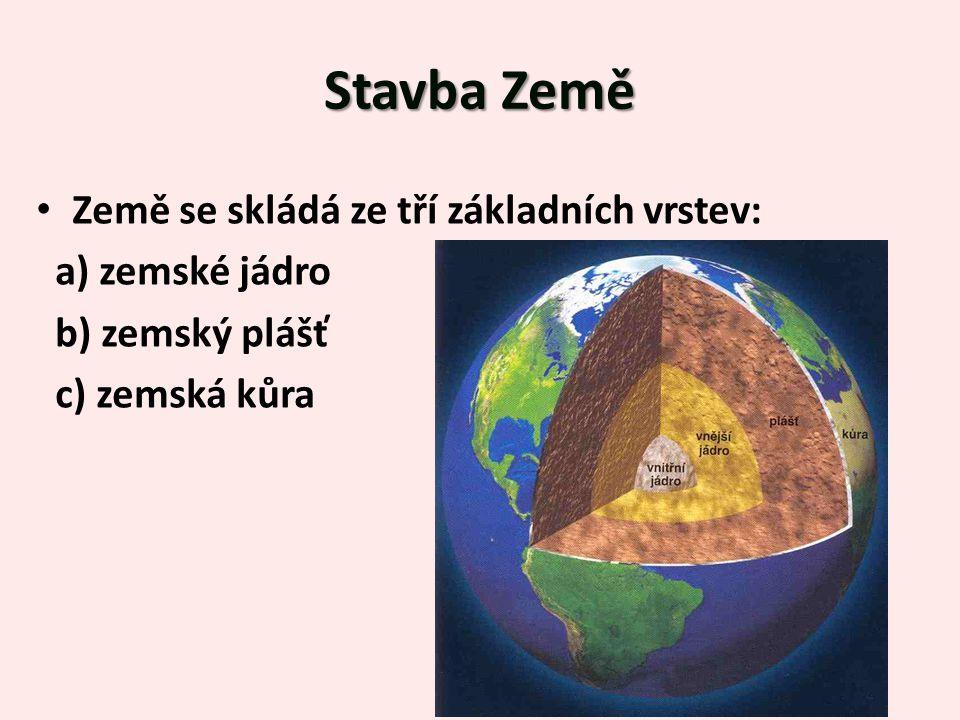 StavbaZemě Stavba Země Země se skládá ze tří základních vrstev: a) zemské jádro b) zemský plášť c) zemská kůra