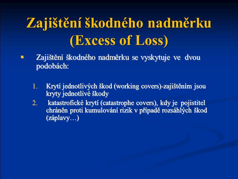 Zajištění škodného nadměrku (Excess of Loss)  Zajištění škodného nadměrku se vyskytuje ve dvou podobách: 1.Krytí jednotlivých škod (working covers)-zajištěním jsou kryty jednotlivé škody 2.
