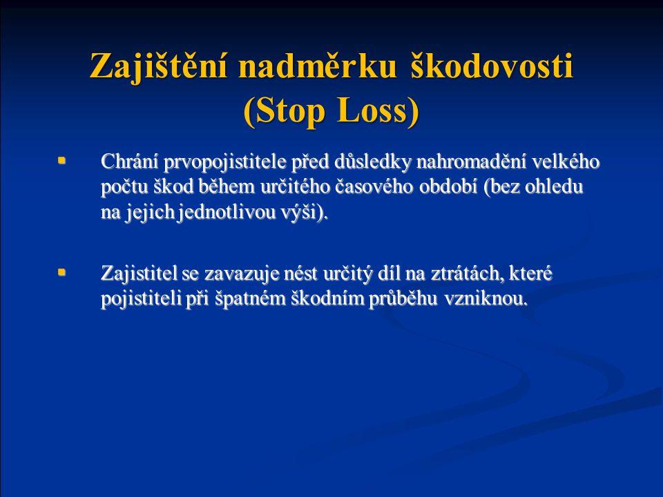Zajištění nadměrku škodovosti (Stop Loss)  Chrání prvopojistitele před důsledky nahromadění velkého počtu škod během určitého časového období (bez ohledu na jejich jednotlivou výši).