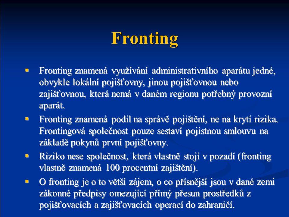 Fronting  Fronting znamená využívání administrativního aparátu jedné, obvykle lokální pojišťovny, jinou pojišťovnou nebo zajišťovnou, která nemá v daném regionu potřebný provozní aparát.