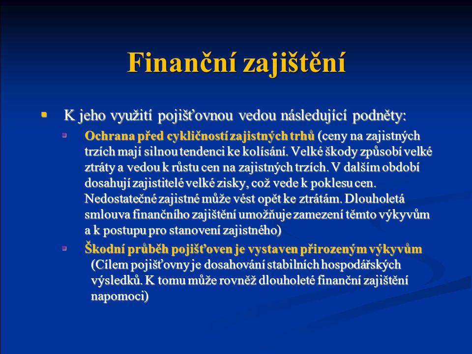 Finanční zajištění  K jeho využití pojišťovnou vedou následující podněty:  Ochrana před cykličností zajistných trhů (ceny na zajistných trzích mají silnou tendenci ke kolísání.