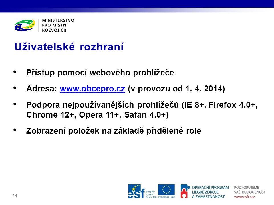 Uživatelské rozhraní 14 Přístup pomocí webového prohlížeče Adresa: www.obcepro.cz (v provozu od 1.