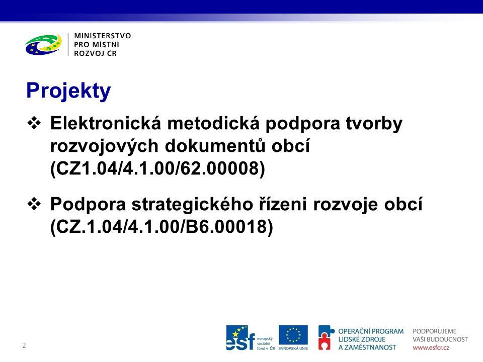  Elektronická metodická podpora tvorby rozvojových dokumentů obcí (CZ1.04/4.1.00/62.00008)  Podpora strategického řízeni rozvoje obcí (CZ.1.04/4.1.00/B6.00018) Projekty 2