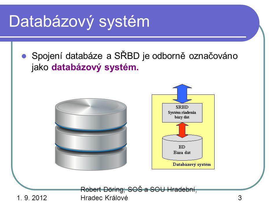 1. 9. 2012 Robert Döring; SOŠ a SOU Hradební, Hradec Králové3 Databázový systém Spojení databáze a SŘBD je odborně označováno jako databázový systém.