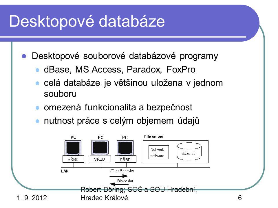 1. 9. 2012 Robert Döring; SOŠ a SOU Hradební, Hradec Králové6 Desktopové databáze Desktopové souborové databázové programy dBase, MS Access, Paradox,