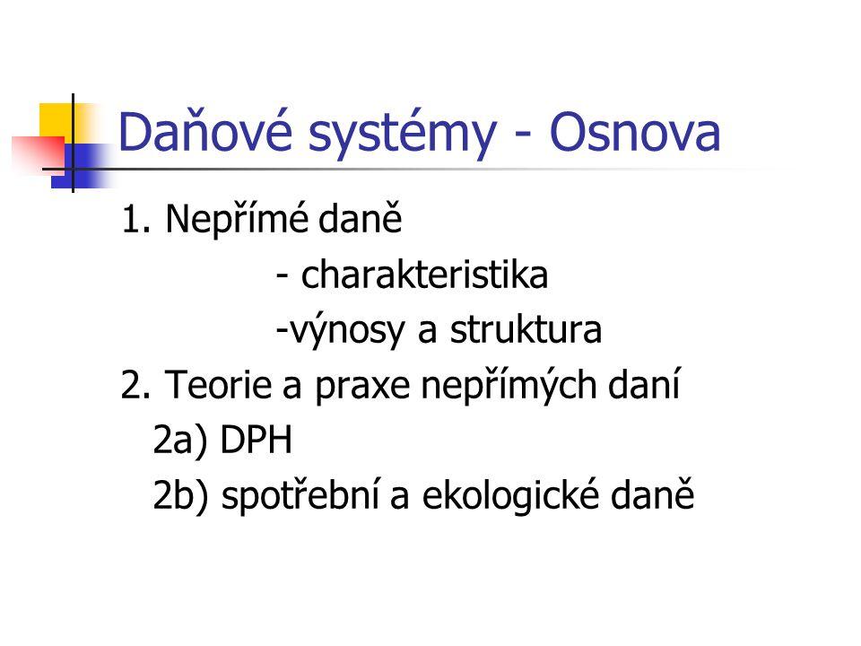 Daňové systémy - Osnova 1. Nepřímé daně - charakteristika -výnosy a struktura 2.