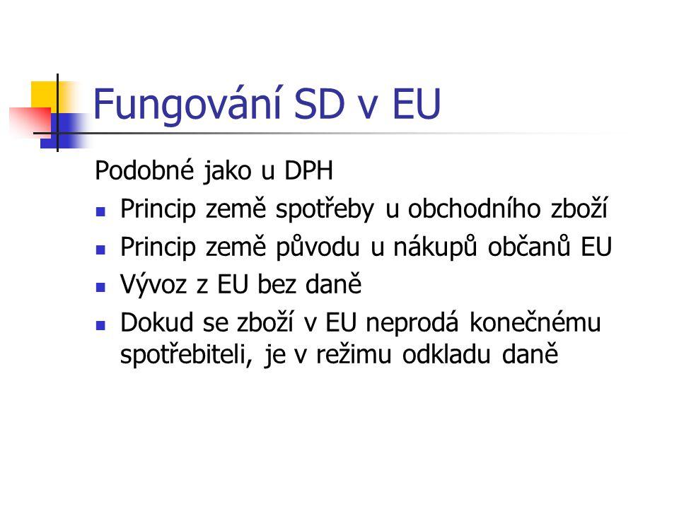 Fungování SD v EU Podobné jako u DPH Princip země spotřeby u obchodního zboží Princip země původu u nákupů občanů EU Vývoz z EU bez daně Dokud se zboží v EU neprodá konečnému spotřebiteli, je v režimu odkladu daně