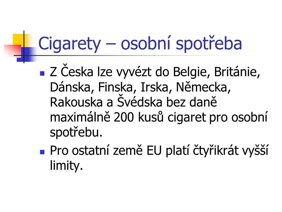 Cigarety – osobní spotřeba Z Česka lze vyvézt do Belgie, Británie, Dánska, Finska, Irska, Německa, Rakouska a Švédska bez daně maximálně 200 kusů cigaret pro osobní spotřebu.