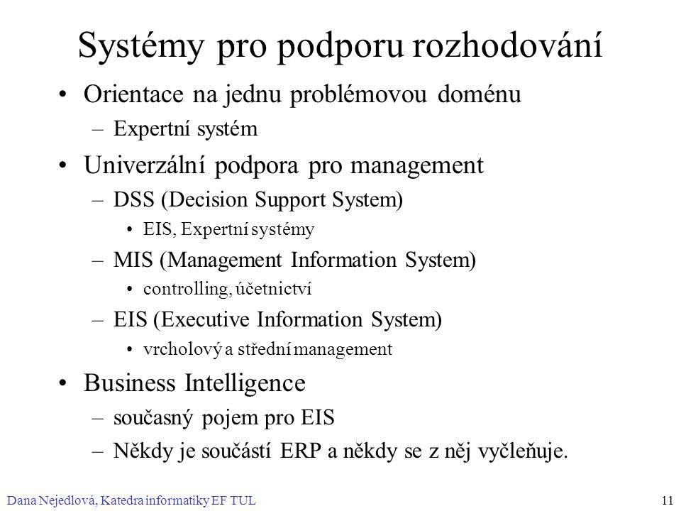 Dana Nejedlová, Katedra informatiky EF TUL11 Systémy pro podporu rozhodování Orientace na jednu problémovou doménu –Expertní systém Univerzální podpora pro management –DSS (Decision Support System) EIS, Expertní systémy –MIS (Management Information System) controlling, účetnictví –EIS (Executive Information System) vrcholový a střední management Business Intelligence –současný pojem pro EIS –Někdy je součástí ERP a někdy se z něj vyčleňuje.