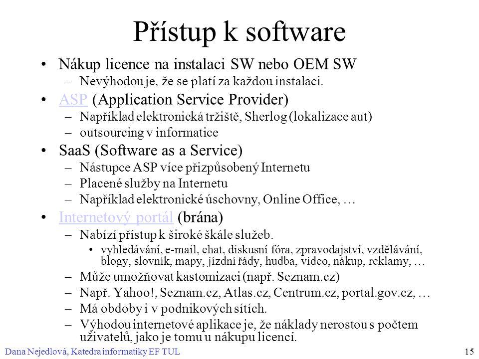 Dana Nejedlová, Katedra informatiky EF TUL15 Přístup k software Nákup licence na instalaci SW nebo OEM SW –Nevýhodou je, že se platí za každou instalaci.