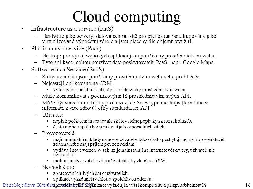 Dana Nejedlová, Katedra informatiky EF TUL16 Cloud computing Infrastructure as a service (IaaS) –Hardware jako servery, datová centra, sítě pro přenos dat jsou kupovány jako virtualizované výpočetní zdroje a jsou placeny dle objemu využití.