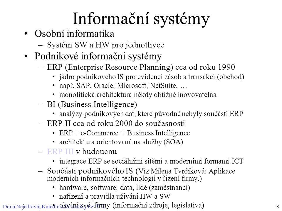 Dana Nejedlová, Katedra informatiky EF TUL3 Informační systémy Osobní informatika –Systém SW a HW pro jednotlivce Podnikové informační systémy –ERP (Enterprise Resource Planning) cca od roku 1990 jádro podnikového IS pro evidenci zásob a transakcí (obchod) např.