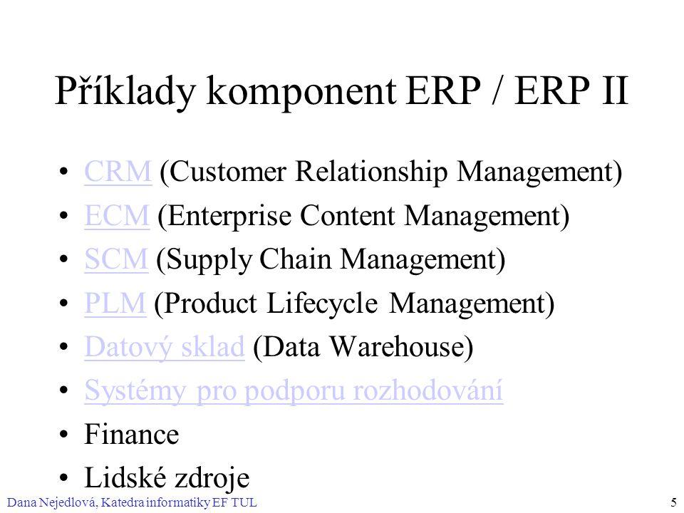 Dana Nejedlová, Katedra informatiky EF TUL5 Příklady komponent ERP / ERP II CRM (Customer Relationship Management)CRM ECM (Enterprise Content Management)ECM SCM (Supply Chain Management)SCM PLM (Product Lifecycle Management)PLM Datový sklad (Data Warehouse)Datový sklad Systémy pro podporu rozhodování Finance Lidské zdroje