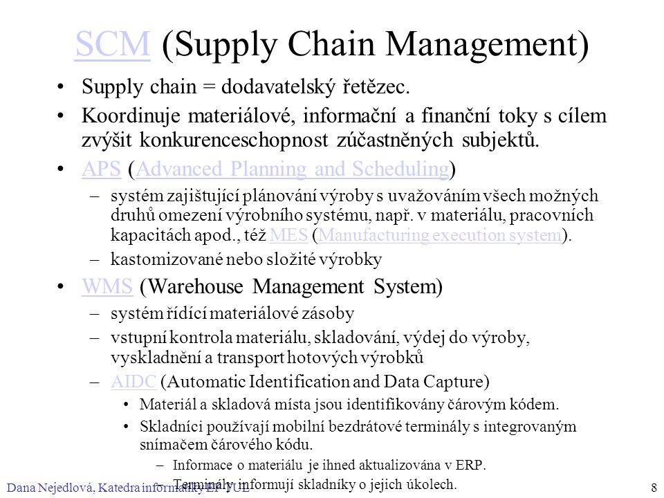 Dana Nejedlová, Katedra informatiky EF TUL8 SCMSCM (Supply Chain Management) Supply chain = dodavatelský řetězec.