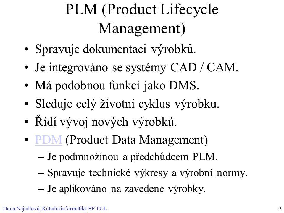 Dana Nejedlová, Katedra informatiky EF TUL9 PLM (Product Lifecycle Management) Spravuje dokumentaci výrobků.