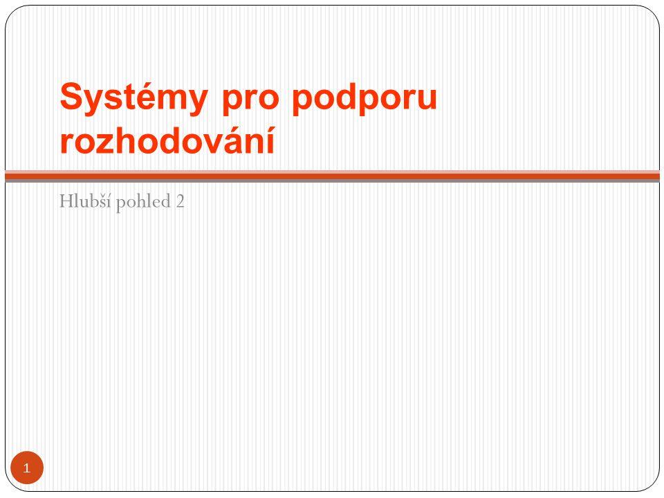 Systémy pro podporu rozhodování Hlubší pohled 2 1