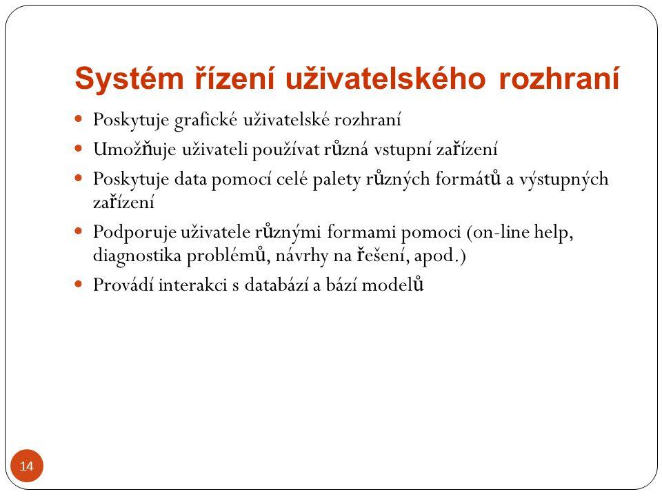 Systém řízení uživatelského rozhraní 14 Poskytuje grafické uživatelské rozhraní Umož ň uje uživateli používat r ů zná vstupní za ř ízení Poskytuje dat