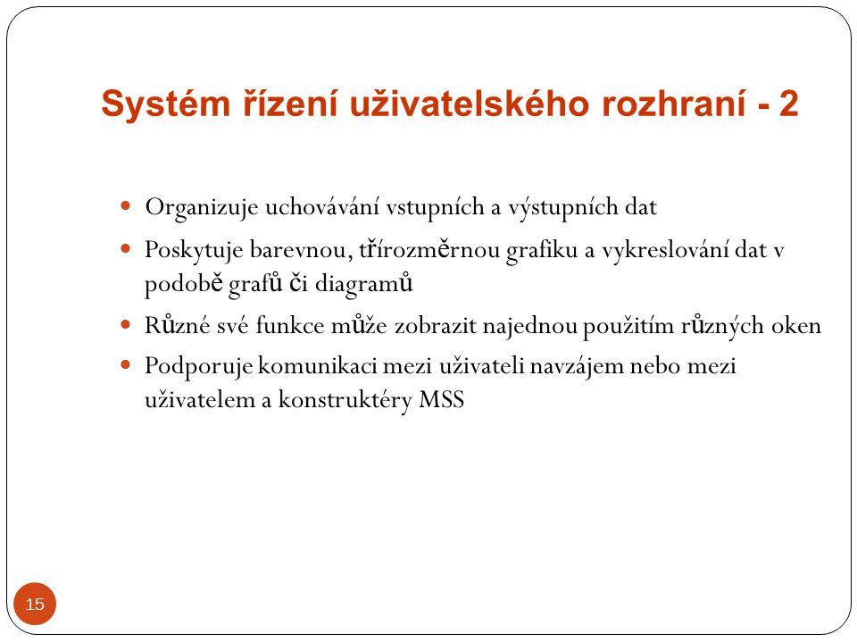 Systém řízení uživatelského rozhraní - 2 15 Organizuje uchovávání vstupních a výstupních dat Poskytuje barevnou, t ř írozm ě rnou grafiku a vykreslová