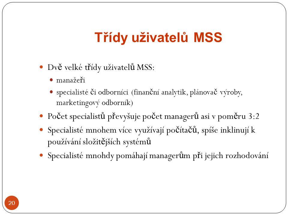 Třídy uživatelů MSS 20 Dv ě velké t ř ídy uživatel ů MSS: manaže ř i specialisté č i odborníci (finan č ní analytik, plánova č výroby, marketingový od