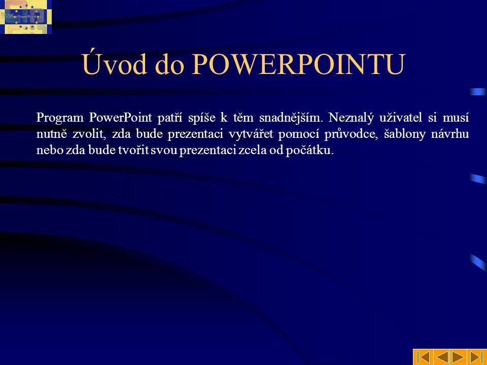 Úvod do POWERPOINTU Program PowerPoint patří spíše k těm snadnějším. Neznalý uživatel si musí nutně zvolit, zda bude prezentaci vytvářet pomocí průvod