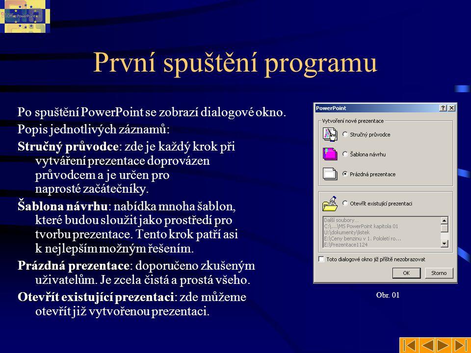První spuštění programu Po spuštění PowerPoint se zobrazí dialogové okno. Popis jednotlivých záznamů: Stručný průvodce Stručný průvodce: zde je každý