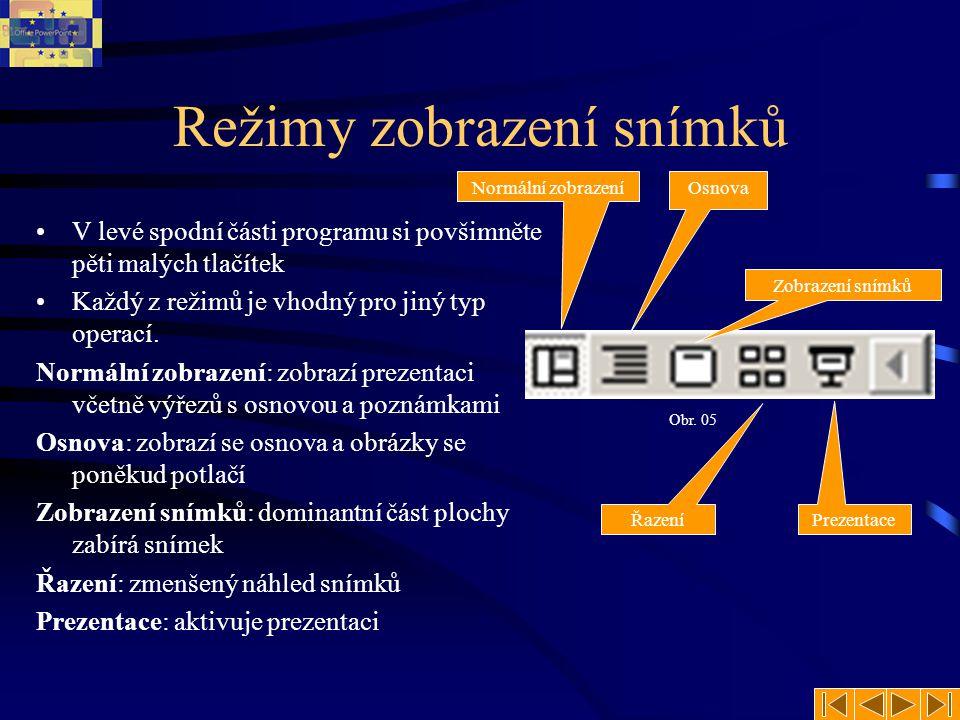 Režimy zobrazení snímků V levé spodní části programu si povšimněte pěti malých tlačítek Každý z režimů je vhodný pro jiný typ operací. Normální zobraz