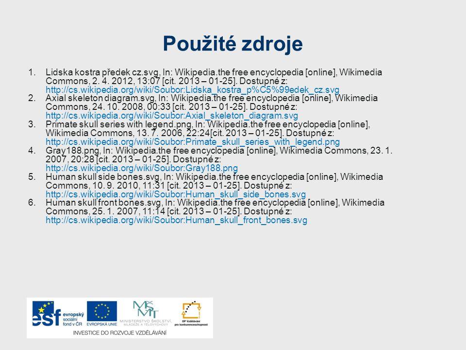 Použité zdroje 1.Lidska kostra předek cz.svg, In: Wikipedia.the free encyclopedia [online], Wikimedia Commons, 2. 4. 2012, 13:07 [cit. 2013 – 01-25].