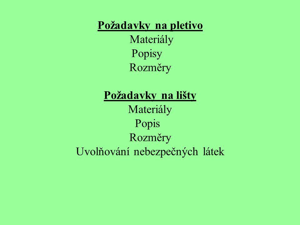 Požadavky na pletivo Materiály Popisy Rozměry Požadavky na lišty Materiály Popis Rozměry Uvolňování nebezpečných látek