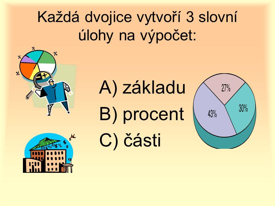 Každá dvojice vytvoří 3 slovní úlohy na výpočet: A) základu B) procent C) části